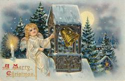 A MERRY CHRISTMAS  angel sits atop snowy roof and rings bell, candle to her right