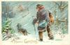 A MERRY CHRISTMAS dachshund leads boy in blue coat carrying hare walking away in snow-storm towards distant house