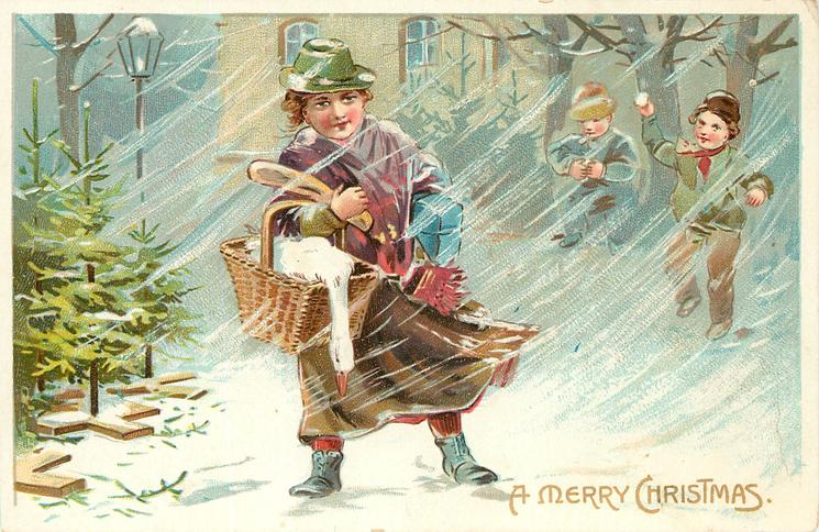 A MERRY CHRISTMAS girl in purple/brown coat walks front in snow storm carrying goose, bread & parcels, 2 boys behind snow-ball her