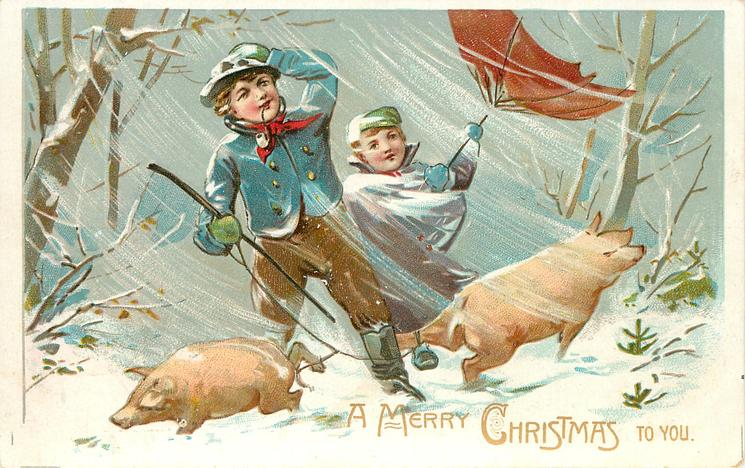 A MERRY CHRISTMAS TO YOU blue-coated man struggles in snow storm with 2 tethered pigs in front of girl with inside-out umbrella