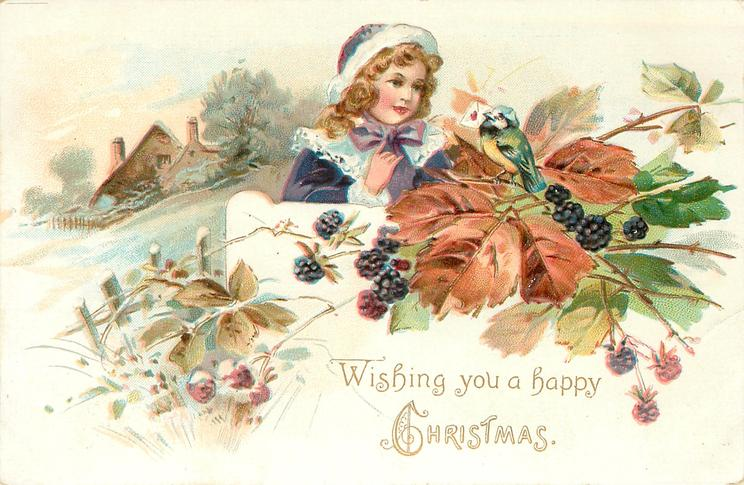 WISHING YOU A HAPPY CHRISTMAS girl in blue outfit with white trim looks at blue-tit on blackberry bush, farmhouse & field left