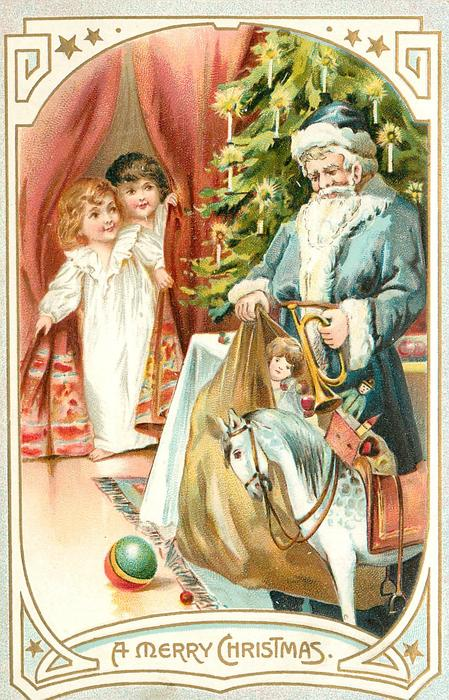 A MERRY CHRISTMAS blue coated Santa with sack of toys, trumpet & rocking horse stands by Xmas tree, two children peek