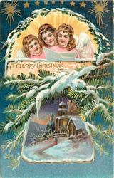A MERRY CHRISTMAS  three angels with song sheet above insert of snowy church