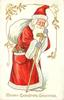 MERRY CHRISTMAS GREETINGS Santa in red coat with white trim, carries stick, white sack on shoulder, toys in pocket, walking right looking front