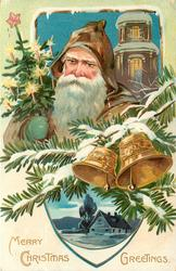 MERRY CHRISTMAS GREETINGS head & shoulders of Santa in brown coat, carries lighted xmas tree, two bells & evergreen above blue farmhouse