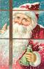 CHEERY CHRISTMAS GREETINGS close-up of santa in pink coat looking in window. holds green-dressed doll in gloved hand