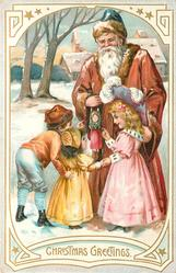 CHRISTMAS GREETINGS Santa in brown coat, showing puppet hanging from wrist to three children, snow scene & buildings behin