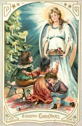 A HAPPY CHRISTMAS  three children sit right of tree looking at angel carrying tray of gifts, tree left