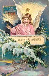 A HAPPY CHRISTMAS  angel with light above snow scene & church below