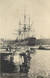 """NELSON'S FLAGSHIP """"VICTORY"""" AT PORTSMOUTH HARBOUR"""