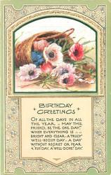 BIRTHDAY GREETINGS inset basket & anemones