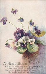 A HAPPY BIRTHDAY  white flowers & violets