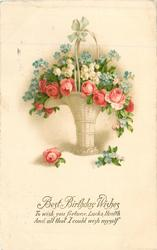 BEST BIRTHDAY WISHES  basket of roses,lilies-of-the-valley & forget-me-nots