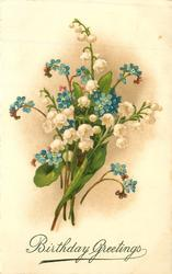 BIRTHDAY GREETINGS  lilies-of-the-valley & forget-me-nots