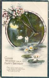 GOOD WISHES FOR  A HAPPY BIRTHDAY  swans, blossom over lake, blue borders