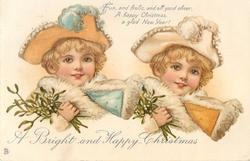 A BRIGHT AND HAPPY CHRISTMAS  two girls with mistletoe