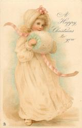 A HAPPY CHRISTMAS TO YOU  girl in cream dress faces partly right, wears muff