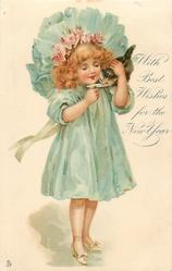 WITH BEST WISHES FOR THE NEW YEAR  girl in blue holding a kitten feeding it milk