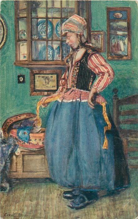 Dutch girl facing left, right hand holds apron string, blue dishes by her head