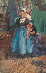 Dutch girl in blue skirt standing, another kneels behind adjusting the skirt
