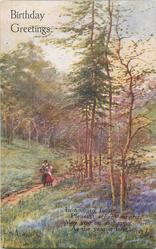 BIRTHDAY GREETINGS  two women on path left, silver birch trees & evergreens above bluebells