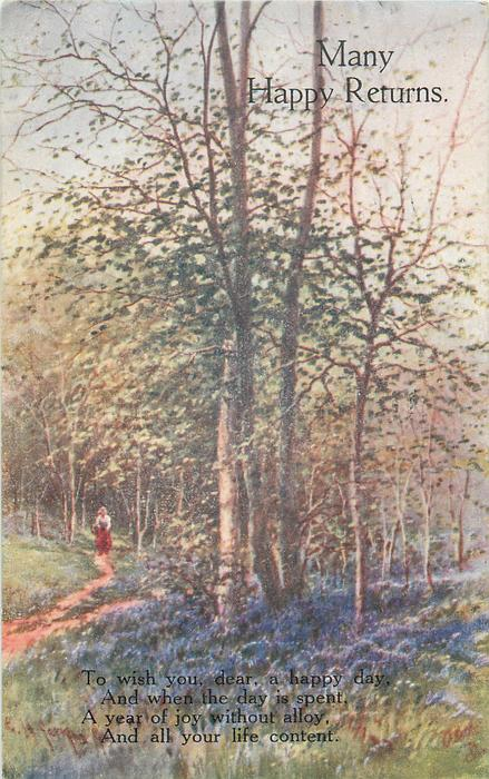 MANY HAPPY RETURNS  woman on path left, silver birch trees, bluebells