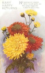 MANY HAPPY RETURNS yellow & deep red  chrysanthemums