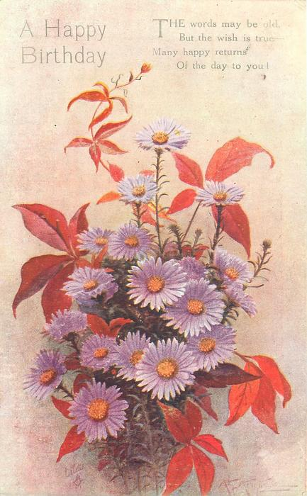 A HAPPY BIRTHDAY purple asters & bronze coloured leaves