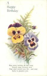 A HAPPY BIRTHDAY multicoloured pansies & maidenhair ferns