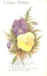 A HAPPY BIRTHDAY  yellow & violet pansies, maidenhair ferns
