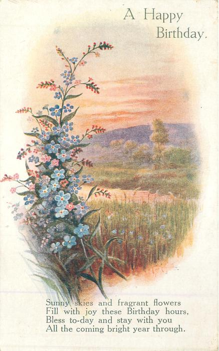 A HAPPY BIRTHDAY blue forget-me-nots & red crocosmia buds left, vignette of hay-field right