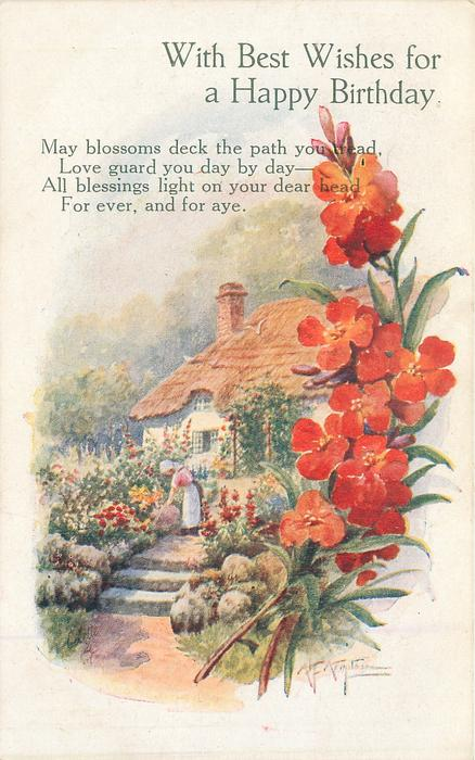 WITH BEST WISHES FOR A HAPPY BIRTHDAY  vignette cottage with woman tending garden in font, deep red wallflowers right