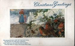 CHRISTMAS GREETINGS mother & child in snow, robins front right