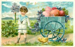 boy stands with blue cart, exaggerated violets & large easter eggs, chick runs left below