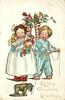 LOVING CHRISTMAS GREETINGS  two children stand, girl with armful of toys, boy leads toy dog