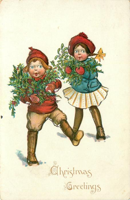 CHRISTMAS GREETINGS two children hold wreath