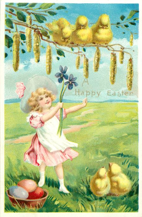 girl in pink with white apron holds 2 exaggerated violets up to 3 chicks on branch with exaggerated catkins, 3 chicks & 3 easter eggs below