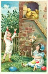 boy in white stands left reaching up, girl sits right holding exaggerated daisies, both look up at three chicks