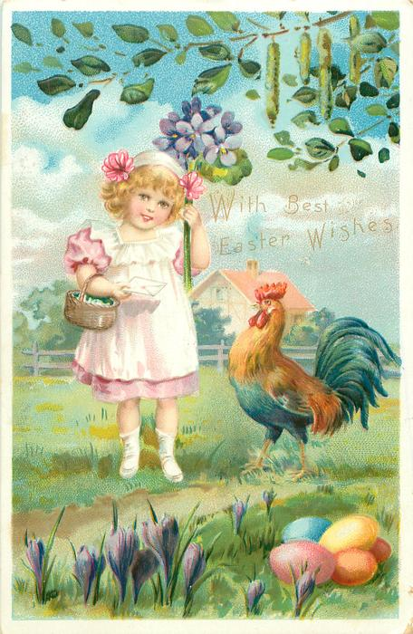 girl in  pink dress under white pinafore has basket on her arm, holding letter & exaggerated violets, cockerel observes easter eggs & crocus below