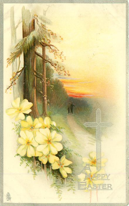A HAPPY EASTER person & child walk away in distance towards sunset on rural road, conifers left, primroses below left