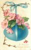 A PEACEFUL HAPPY EASTER pussy-willow left & pink polyanthus over blue egg hanging from same coloured ribbon