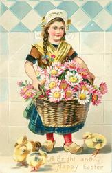 girl wears blue skirt, multicoloured daisies in basket, 4 chicks