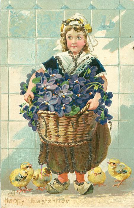 girl wears brown skirt, violets in basket, 4 chicks