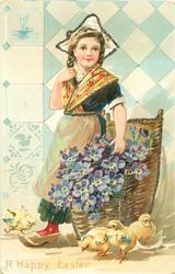 girl wears cream apron over blue skirt, violets in basket on ground, 4 chicks