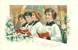 four girl choristers holding red books sing in front of masonry arch