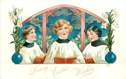 2 girl & a boy choristers sing holding brown books in front of decorative panel
