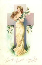 LOVING EASTER WISHES girl dressed in yellow with arms crossed holding lilies stands in front of purple cross