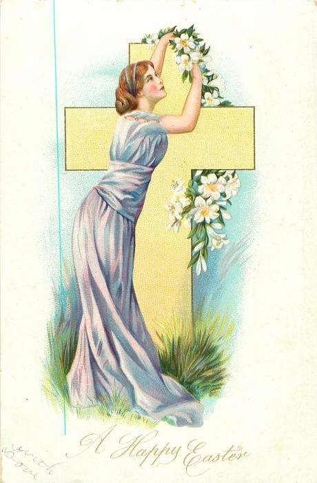 A HAPPY EASTER woman dressed in purple adjusts lilies standing in front of yellow cross