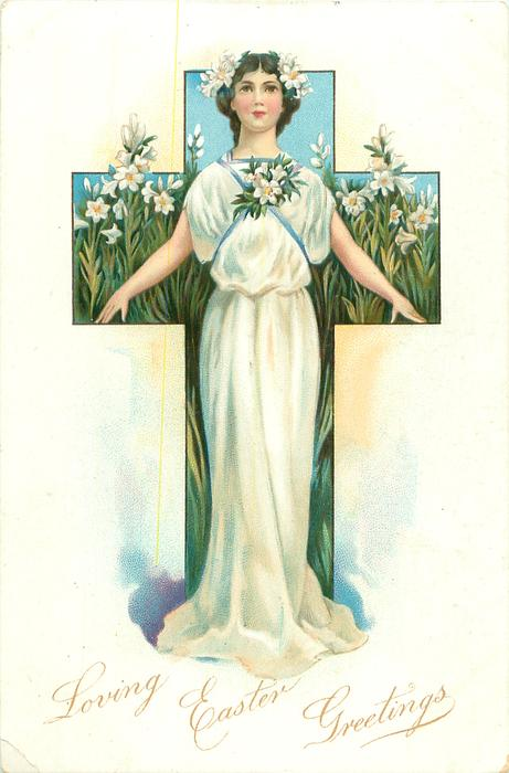 LOVING EASTER GREETINGS girl dressed in white lilies standing in front of blue cross & many lilies