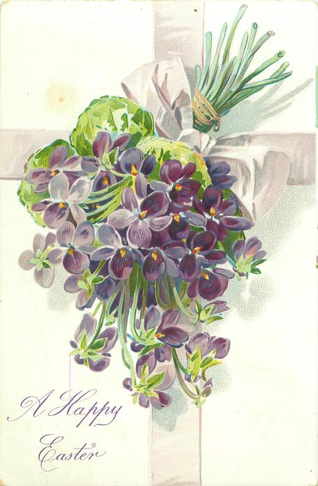 A HAPPY EASTER bunch of violets, stalks pointing up right, pale lilac ribbon & bow